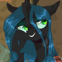 Size: 1068x1068 | Tagged: safe, artist:hakkerman, queen chrysalis, changeling, changeling queen, bust, female, looking up, portrait, slit eyes, solo