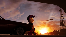 Size: 1280x720 | Tagged: safe, artist:star-dust101, scootaloo, human, 3d, car, f-16, jet, leaning, older, older scootaloo, plane, smoking, source filmmaker, sunglasses, sunset, top gun