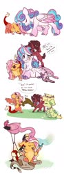 Size: 1024x2757 | Tagged: safe, artist:loryska, princess flurry heart, oc, oc:bastion, oc:brick hoof, oc:larkspur, bird, hybrid, pegasus, rattlesnake, snake, unicorn, baby draconequus, cloven hooves, crying, female, filly, interspecies offspring, magical gay spawn, mouth hold, offspring, parent:discord, parent:fluttershy, parent:trenderhoof, parent:zephyr breeze, parents:discoshy, parents:trenderbreeze, wooden sword