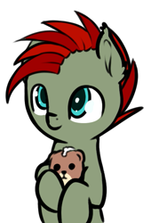Size: 457x672 | Tagged: safe, artist:neuro, oc, oc only, oc:jet lag, pony, simple background, solo, teddy bear, transparent background