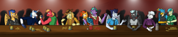 Size: 3156x672 | Tagged: safe, artist:jde10, big macintosh, braeburn, double diamond, firelight, flash sentry, gallus, sandbar, shining armor, soarin', sunburst, thunderlane, anthro, earth pony, griffon, pegasus, unicorn, alcohol, beer, clothes, cowboy hat, father and child, father and son, fist bump, freckles, glass, glasses, hat, jacket, juice, looking at each other, male, playing, scarf, shadow, table, wings
