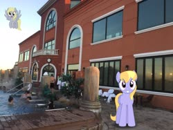 Size: 2048x1536 | Tagged: safe, artist:bluemeganium, edit, editor:topsangtheman, cloud kicker, derpy hooves, pegasus, pony, irl, looking at you, photo, photoshop, ponies in real life, spa