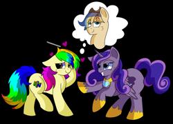 Size: 1280x920   Tagged: safe, artist:rainbowtashie, oc, oc:princess luminescent love, oc:rainbow tashie, oc:spicy cider, alicorn, earth pony, pegasus, pony, alicorn oc, alicorn princess, blushing, commissioner:bigonionbean, cutie mark, dreams, embarrassed, female, fusion, fusion:princess luminescent love, fusion:spicy cider, in love, jewelry, mare, nintendo 64, regalia, royalty, simple background, thought bubble, transparent background, writer:bigonionbean