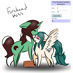 Size: 500x500 | Tagged: safe, artist:kaggy009, oc, oc only, oc:peppermint pattie (unicorn), pegasus, pony, unicorn, ask peppermint pattie, female, kissing, mare