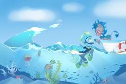 Size: 4093x2710   Tagged: safe, artist:patchnpaw, oc, oc:kiwi, oc:sea glow, fish, jellyfish, kirin, pegasus, pony, air tank, boat, boop, coral, flippers, full face mask, kirin oc, palindrome get, scuba, scuba mask, underwater, wetsuit