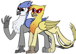 Size: 2800x2000 | Tagged: safe, artist:somber, oc, oc:carmelita galeforce, oc:serge swiftwing, bird, blue jay, griffon, fallout equestria, bluejay griffon, colored, fallout equestria: longtalons, female, flat colors, male, simple background, smiling, transparent background