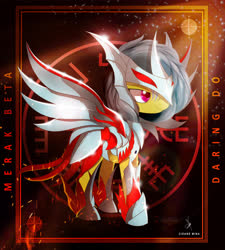 Size: 4300x4770 | Tagged: safe, artist:zidanemina, daring do, pegasus, pony, absurd resolution, anime, armor, crossover, female, mare, metal wing, saint seiya, smiling, solo