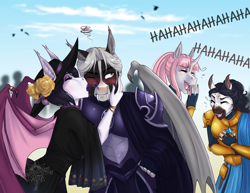 Size: 3300x2550 | Tagged: safe, artist:askbubblelee, oc, oc:rosie quartz, oc:saanvi, oc:victor bates, oc:vienna bates, anthro, saddle arabian, anthro oc, armor, blushing, digital art, embarrassed, female, kiss on the cheek, kissing, laughing, male, mother and child, mother and son, night guard, night guard armor, royal guard, royal guard armor, story in the source