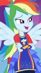 Size: 750x1334 | Tagged: safe, screencap, rainbow dash, equestria girls, rollercoaster of friendship, spoiler:eqg series, cropped, ponied up, pony ears, solo, super ponied up