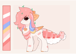 Size: 1938x1374   Tagged: safe, artist:php146, oc, oc:saki, original species, pegasus, suisei pony, bandaid, blushing, chest fluff, closed species, color palette, deviantart watermark, ear fluff, eye clipping through hair, female, obtrusive watermark, pink background, plant, reference sheet, simple background, solo, stars, watermark, wings