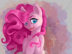 Size: 1280x960 | Tagged: safe, artist:xzjeep, pinkie pie, earth pony, pony, abstract background, bubble, cute, cute little fangs, diapinkes, fangs, female, looking at you, mare, open mouth, semi-realistic, solo, wavy mane