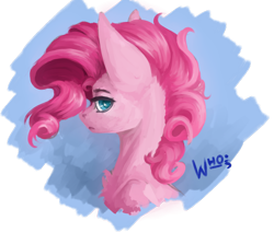 Size: 1280x1083 | Tagged: safe, artist:xzjeep, pinkie pie, earth pony, pony, blue background, bust, digital painting, female, lidded eyes, looking at you, mare, portrait, profile, semi-realistic, simple background, solo, transparent background, wavy mane