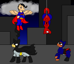 Size: 1244x1084 | Tagged: safe, artist:chili19, earth pony, pegasus, pony, batman, building, cape, clothes, cloud, crossover, dc comics, flying, hanging, looking up, male, marvel comics, mask, ponified, spider-man, spread wings, stallion, superman, the phantom, wings