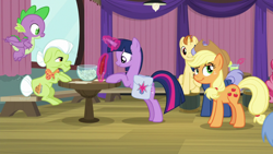 Size: 1920x1080 | Tagged: safe, screencap, cup cake, golden crust, goldengrape, granny smith, midnight snack (character), sir colton vines iii, spike, twilight sparkle, alicorn, dragon, a trivial pursuit, spoiler:s09e16, bag, friendship student, saddle bag, twilight sparkle (alicorn), winged spike