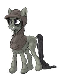 Size: 475x587 | Tagged: safe, artist:sinsigat, oc, oc only, earth pony, pony, blank flank, clothes, hood, male, malnourished, medieval, simple background, stallion, white background