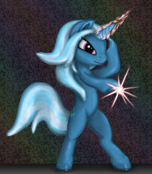Size: 3591x4125 | Tagged: safe, artist:vladimir-olegovych, trixie, pony, unicorn, absurd file size, bipedal, glowing horn, horn, magic, solo