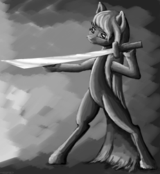 Size: 4374x4734 | Tagged: safe, artist:vladimir-olegovych, pinkie pie, earth pony, pony, absurd resolution, bipedal, grayscale, hoof hold, monochrome, pinkamena diane pie, solo, sword, weapon