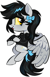 Size: 415x644 | Tagged: safe, artist:cryptidcake, oc, oc only, oc:lightning dee, pegasus, pony, bow, choker, clothes, colored sclera, commission, eyeshadow, fangs, female, hoodie, makeup, mare, simple background, solo, spiked choker, spiked wristband, spread wings, tail bow, transparent background, wings, wristband, ych result