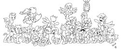 Size: 3856x1588 | Tagged: safe, artist:lucas_gaxiola, oc, oc only, oc:charmed clover, oc:digibrony, oc:dusty katt, oc:eilemonty, oc:feather, oc:ilovekimpossiblealot, oc:ink rose, oc:mandopony, oc:mic the microphone, oc:rachet, oc:saberspark, oc:scotty, oc:steve, oc:usagi, earth pony, pegasus, pony, unicorn, eilemonty, female, flying, grin, group, lineart, male, mare, monochrome, ponified, progress, raised hoof, sibsy, sketch, smiling, stallion, tara strong, upside down, wip
