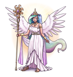 Size: 1899x2000 | Tagged: safe, artist:king-kakapo, princess celestia, human, abstract background, clothes, crown, dress, female, horn, horned humanization, humanized, jewelry, nail polish, open mouth, regal, regalia, solo, spread wings, staff, sun, winged humanization, wings