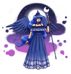Size: 1899x2000 | Tagged: safe, artist:king-kakapo, princess luna, human, clothes, crescent moon, crown, dress, female, full moon, humanized, jewelry, moon, night, open mouth, regalia, sky, solo, staff, winged humanization, wings