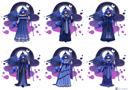 Size: 5697x4000 | Tagged: safe, artist:king-kakapo, princess luna, human, clothes, crescent moon, crown, dress, female, full moon, humanized, jewelry, moon, night, open mouth, regalia, sky, solo, staff, winged humanization, wings