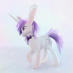 Size: 433x429 | Tagged: safe, artist:xbi, oc, oc only, oc:lapush buns, unicorn, bowtie, bunny ears, bunnycorn, male, solo, stallion