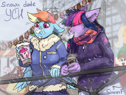 Size: 2000x1500 | Tagged: safe, artist:flysouldragon, pinkie pie, rainbow dash, twilight sparkle, anthro, pegasus, :<, clothes, coffee, commission, feather, female, floppy ears, food, jacket, lesbian, one eye closed, scarf, shipping, sketch, snow, snowfall, twidash, whipped cream, wings, wink, winter, your character here
