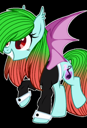 Size: 800x1168 | Tagged: safe, anonymous artist, oc, oc:precised note, vampire, vampony, base used, changed cutie mark, clothes, cutie mark, fangs, grin, note, slit eyes, slit pupils, smiling, species swap, spread wings, suit, tuxedo, two toned mane, wings