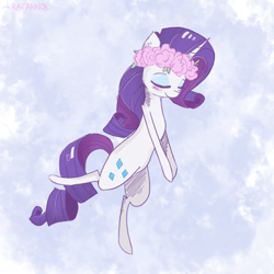 Size: 2449x2449 | Tagged: safe, artist:ratann, rarity, pony, unicorn, bipedal, eyes closed, floral head wreath, flower, solo