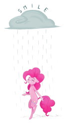 Size: 1585x3015 | Tagged: safe, artist:ratann, pinkie pie, earth pony, pony, bipedal, cloud, eyes closed, rain, raincloud, simple background, smiling, solo, white background