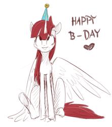 Size: 2302x2604 | Tagged: safe, artist:ratann, oc, oc only, oc:fausticorn, alicorn, pony, cute, faustabetes, happy birthday, happy birthday lauren faust, hat, party hat, sitting, sketch, solo