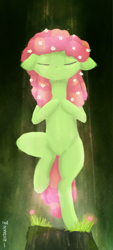 Size: 1006x2235 | Tagged: safe, artist:ratann, tree hugger, earth pony, pony, eyes closed, flower, flower in hair, solo, tree pose, yoga, yoga pose