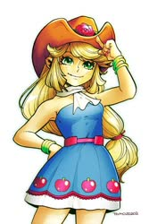 Size: 560x840 | Tagged: safe, artist:babtyu, applejack, equestria girls, armpits, bare shoulders, bracelet, clothes, cowboy hat, fall formal outfits, female, hat, jewelry, scarf, sleeveless, solo, strapless