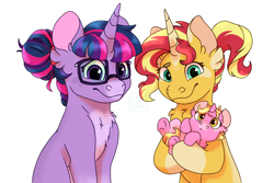 Size: 1500x1000 | Tagged: safe, artist:glitterstar2000, luster dawn, sci-twi, sunset shimmer, twilight sparkle, pony, unicorn, equestria girls, baby, baby pony, chest fluff, description at source, digital art, ear fluff, equestria girls ponified, female, glasses, headcanon, lesbian, magical lesbian spawn, mare, offspring, scitwishimmer, shipping, simple background, sunsetsparkle, unicorn sci-twi, watermark, white background