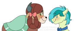 Size: 1150x478 | Tagged: safe, artist:unicorngutz, sandbar, yona, earth pony, yak, she's all yak, spoiler:s09e07, blushing, bowtie, female, looking away, male, monkey swings, nervous, shipping, signature, simple background, smiling, straight, transparent background, wavy mouth, yonabar