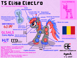 Size: 2048x1556   Tagged: safe, artist:wvdr220dr, oc, oc:elisa electromagnetice, pony, robot, robot pony, unicorn, artificial intelligence, battery, electromagnet, female, imfomaz os, machine, mare, metal, polarity, romania