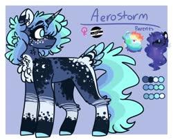 Size: 1572x1272 | Tagged: safe, artist:luqella, princess luna, rainbow dash, oc, oc only, oc:aerostorm, pony, unicorn, female, magical lesbian spawn, mare, offspring, parent:princess luna, parent:rainbow dash, parents:lunadash, reference sheet, solo