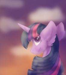 Size: 700x800 | Tagged: safe, artist:brendalobinha, twilight sparkle, pony, unicorn, bust, ear fluff, female, fog, looking at you, mare, solo, unicorn twilight