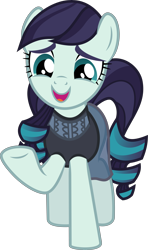 Size: 5000x8441 | Tagged: safe, artist:twilirity, coloratura, earth pony, pony, the mane attraction, .svg available, absurd resolution, clothes, female, happy, mare, open mouth, raised hoof, rara, simple background, solo, transparent background, underhoof, vector