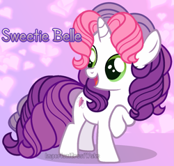 Size: 1235x1176 | Tagged: safe, artist:importantgreatwake, artist:pigeorgien, sweetie belle (g3), unicorn, female, filly, g3, g3 to g4, g3.5, g3.5 to g4, generation leap, mare, solo
