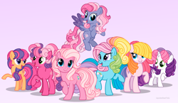 Size: 2941x1700 | Tagged: safe, artist:importantgreatwake, artist:pigeorgien, cheerilee (g3), pinkie pie (g3), rainbow dash (g3), scootaloo (g3), starsong, sweetie belle (g3), toola roola, earth pony, pegasus, unicorn, core seven, female, filly, g3, g3 to g4, g3.5, g3.5 to g4, generation leap, mare