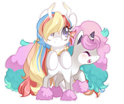 Size: 1007x850 | Tagged: safe, artist:loyaldis, oc, oc only, oc:rainbow dreams, galarian ponyta, pegasus, pony, ponyta, duo, female, hair over one eye, mare, pokémon, simple background, transparent background, white outline, ych result