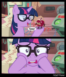 Size: 1288x1496 | Tagged: safe, edit, edited screencap, editor:teren rogriss, screencap, sci-twi, twilight sparkle, unicorn, equestria girls, feeling pinkie keen, the big mac question, spoiler:s09e23, apple, equestria girls ponified, food, glasses, horrified, living apple, unicorn sci-twi