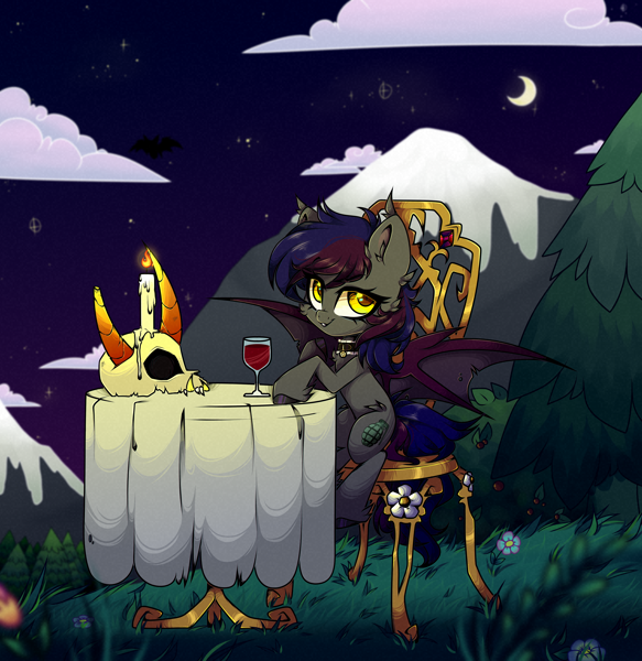 Size: 4148x4272 | Tagged: safe, artist:_spacemonkeyz_, oc, bat pony, pony, absurd resolution, candle, chair, choker, featured image, female, flower, looking at you, mare, moon, skull, solo