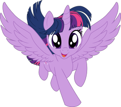 Size: 5662x5000 | Tagged: safe, artist:pink1ejack, kotobukiya, twilight sparkle, alicorn, pony, absurd resolution, cute, female, mare, moe, open mouth, spread wings, twiabetes, twilight sparkle (alicorn), vector, wings