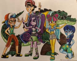 Size: 3604x2845 | Tagged: safe, artist:bozzerkazooers, aria blaze, indigo zap, sour sweet, space camp (character), equestria girls, equestria girls series, spring breakdown, spoiler:eqg series, spoiler:eqg series (season 2), belly button, clothes, cruise, flip-flops, front knot midriff, goggles, group, hand on hip, hat, keno, leatherhead, midriff, pose, sandals, spring break, swimsuit, traditional art