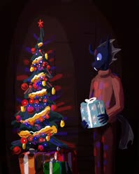 Size: 860x1078 | Tagged: safe, artist:xander, anthro, changeling, christmas, christmas changeling, christmas lights, christmas tree, clothes, holiday, male, present, solo, standing, sweater, tree