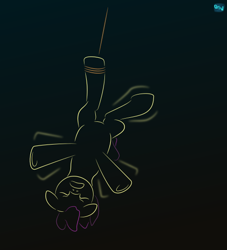 Size: 500x550 | Tagged: safe, artist:quint-t-w, oc, oc only, earth pony, pony, eyes closed, flailing, gradient background, hanging, hanging upside down, minimalist, modern art, old art, rope, solo, tied