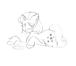 Size: 1089x951 | Tagged: safe, artist:anonymous, artist:happyartfag, pony, unicorn, /mlp/, 4chan, cocaine, crying, drawthread, drugs, high, monochrome, snow, snowflake, solo, swirly eyes